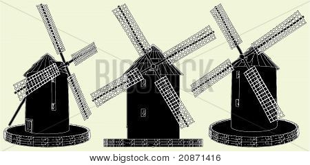 Antique Windmill Vector 01.eps