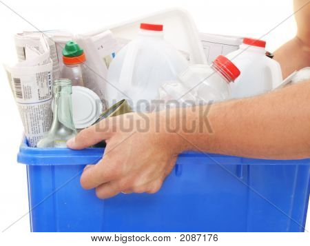Hands Holding A Recycle Bin