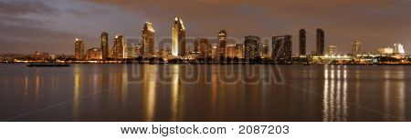 Panorama Of San Diego Downtown At Dusk