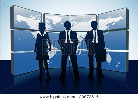 Business people teams standing in front of world map monitor wall