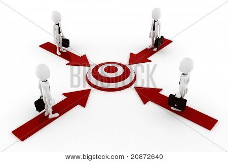 3d man global business, on white background