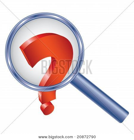 Question Mark Under Magnifier Glass