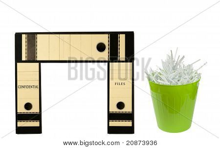 binders resembling a desk with green bin