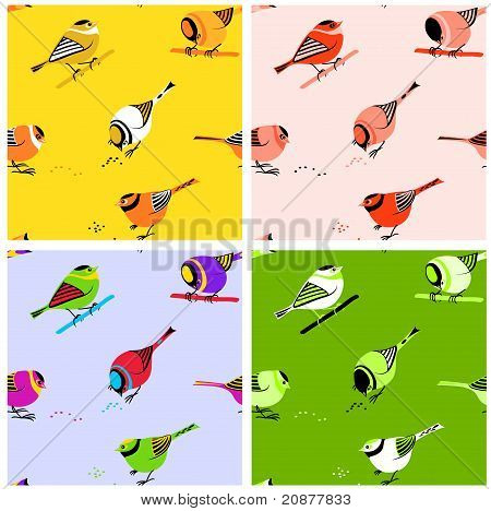 Birds Seamless Pattern Tiles