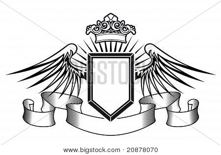 Heraldry Shield With Angel Wings And Crown
