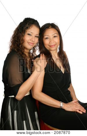Beautiful Thai Mom With Daughter
