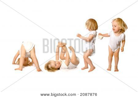 Adventurous Girl Toddler Having Fun Isolated