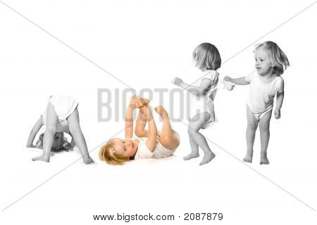 Girl Toddler Having Fun In Monochrome And Color