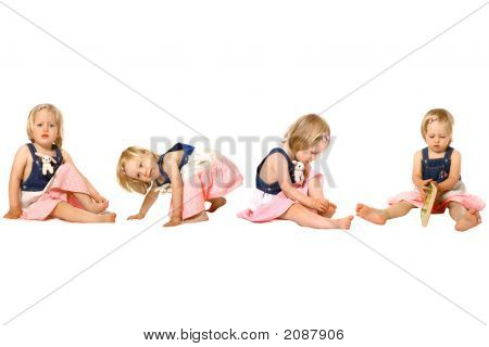 Toddler Girl In Fun Activities Isolated
