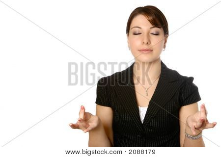 Businesswoman Doing Some Yoga Breathing Exercise
