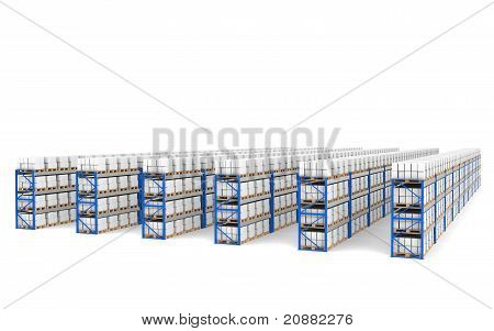 Shelves X 60. Top Perspective View, Shadows. Part Of A Blue Warehouse And Logistics Series.