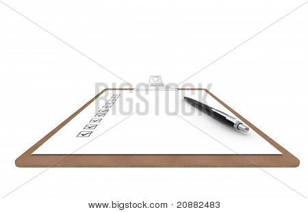Clipboard With Checklist And Pen. Side View.