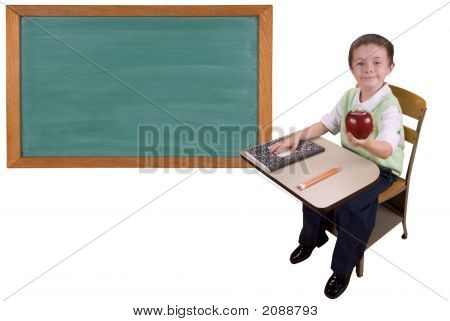 School Desk And Chalkboard
