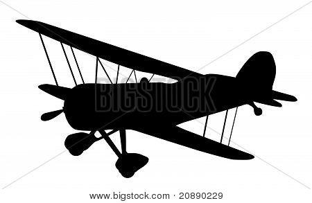 Vintage Biplane Silhouette