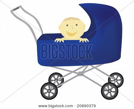 Funny Baby In Perambulator
