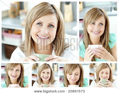Collage Of A Young Woman Drinking A Cup Of Coffeein The Living Room