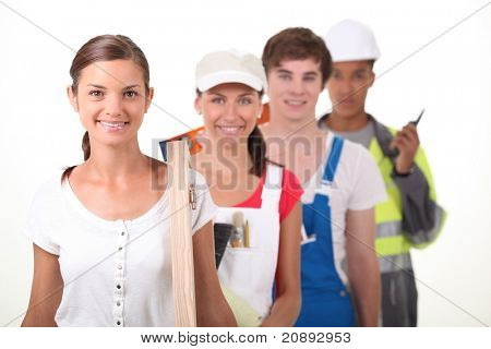 Four young people illustrating different occupations