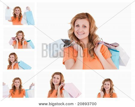 Collage Of A Woman With Shopping Bags