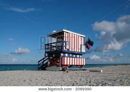 Red And White Lifeguard Tower In South Beach