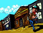stock photo of sixgun  - Cartoon cowboy sheriff in a dusty town street - JPG