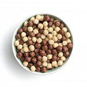 Breakfast cereal balls in bowl. Tasty breakfast. Chocolate cereals. poster