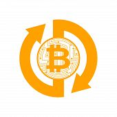 Exchange Bitcoin. Crypto Currency Stock Exchange Sign. Virtual Money  Swap. Vector Illustrator poster