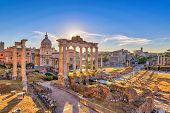 Rome Sunrise City Skyline At Rome Forum (roman Forum), Rome, Italy poster