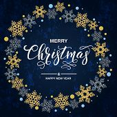 Merry Christmas Handwriting Script Lettering. Christmas Greeting  With Snowflakes On Blue Background poster