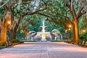 Savannah, Georgia, USA at Forsyth Park. poster