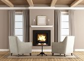 Classic Living Room With Fireplace poster