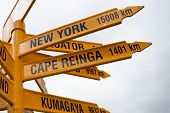 Signpost At Stirling Point - New Zealand.