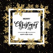 Merry Christmas Handwriting Script Lettering. Christmas Greeting  With Gold Snowflakes On Black Back poster