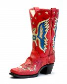 Red Vintage Cowboy Boot On White Set