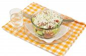stock photo of ouzo  - Shopska mixed salad in glass plate - JPG