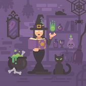 Witch In Her House Studying Magic. Young Sorceress Casting A Magic Spell. Witch Kitchen With Magic I poster