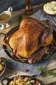 Organic Homemade Smoked Turkey Dinner For Thanksgiving poster
