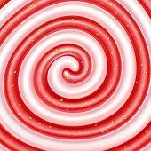 Strawberry jam and yogurt swirls. Sweet spiral background. Dairy and berry mix. Cream, jam, yogurt,  poster