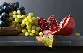 Blue And White Grapes With Pomegranate poster
