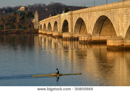 Washington DC, rowing boat in Potomac River with Arlington Memorial Bridge view