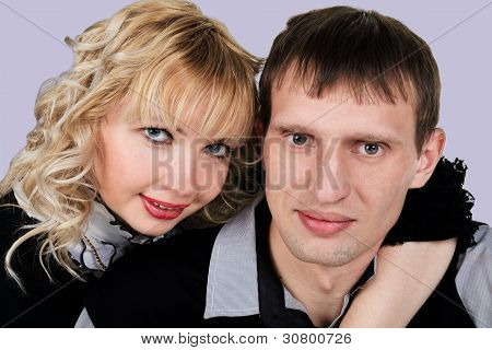 Closeup Portrait Of Happy Young Couple