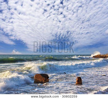 Storm on Mediterranean sea. A surf at coast Jaffo, Israel