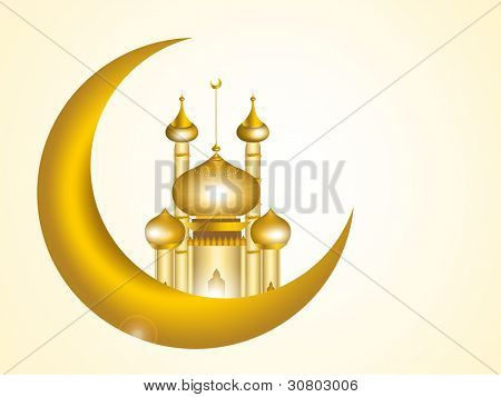 3D  image of mosque with moon in golden color for Muslim celebration. eps 10. isolated in white.