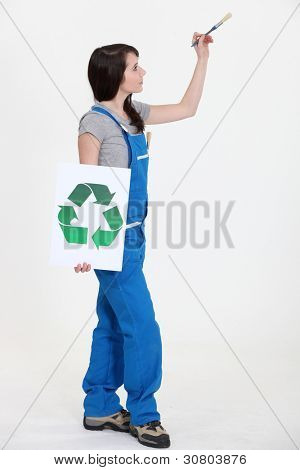 Painter with a recycle sign