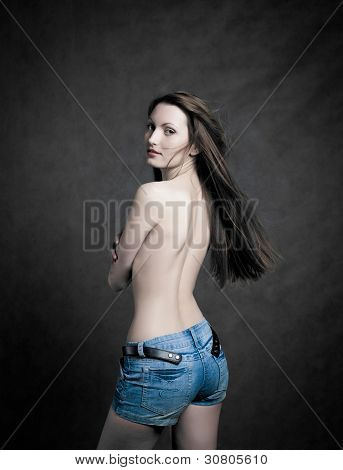 Fashion photo of beautiful seminude woman