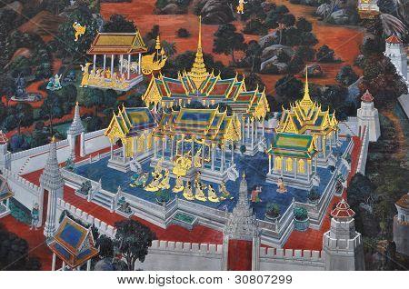 Thai ramayana mural.