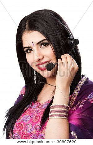 Happy Indian Customer Service Representative