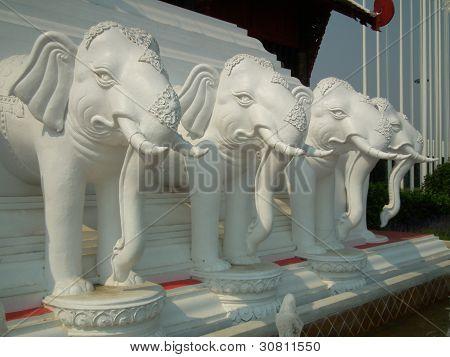 White Guardian Elephant Statues