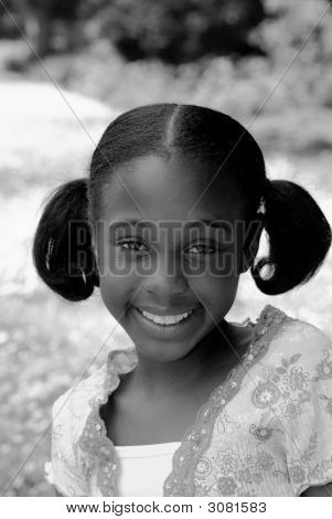 African American Girl In B&W Portrait Smile