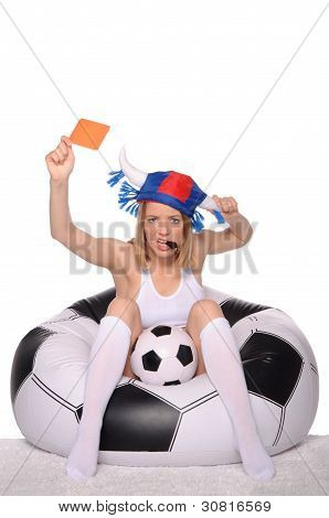 Football and soccer supporter showing red card