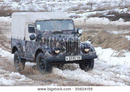 KIEV, UKRAINE -FEB 25: Soviet military jeep GAZ-69 created after WWII during Historical Military Motor Show,Military Historical  Motor  Club GAS-69. February 25, 2012 in Kiev, Ukraine